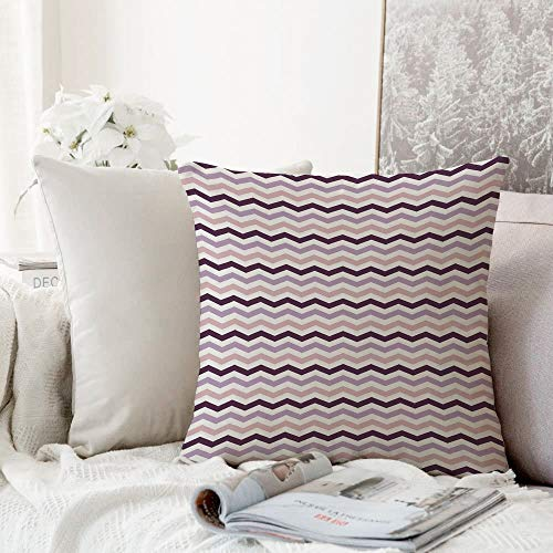 Decorative Pillowcase Throw Pillow Cushion Cover,Eggplant,Sea Ocean Wave Inspired Zig Zag Image in Purple Tones Art Print,Light Pink Purple and Lilac,Throw Pillow Case, Home Sofa Bedroom Decoration