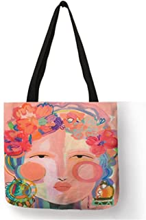SHENY Shopping Bag Canvas Handbags Tote Bags For Women Lady Shoulder Bags Abstract Women Portrait Painting