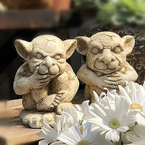 Escultura,Juego De 2 Duendes Defienden El Jardín Adornos Figuras Figuras De Hadas De Elfo Estatuas