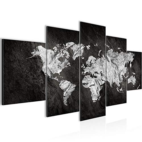 Runa Art - Quadri Mappa Del Mondo 200 x 100 cm 5 Pezzi XXL Decorazione Murale Design Nero Bianca 002951a