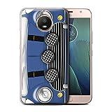 Stuff4® Hülle/Case für Motorola Moto E4 Plus 2017 / Italian Job Blau Muster/Klassisch Retro Mini...