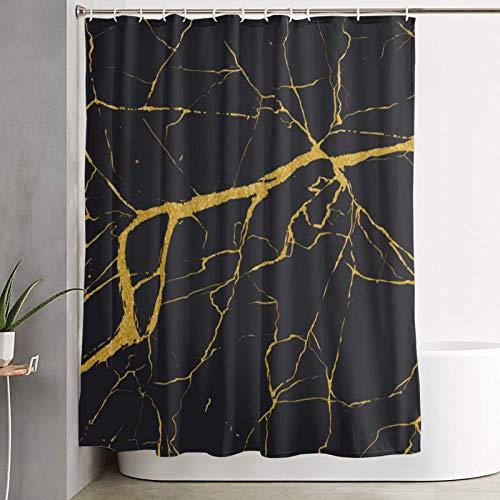 Duschvorhang,Luxus Marmor Gold,Bad Vorhang waschbar Bad Vorhang Polyester Stoff mit 12 Kunststoffhaken 180x210cm