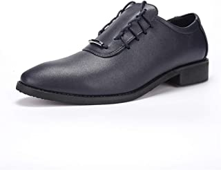 PengCheng Pang Men's Business Oxford Casual Pointed Fashion and Personality Classic Fashion Formal Shoes (Color : Blue, Size : 7 UK)