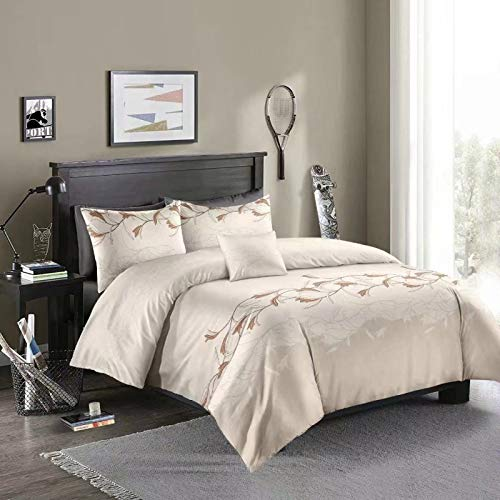 Duvet cover and pillowcase bedding quilt cover single double bed room king-size bed-molan cream white