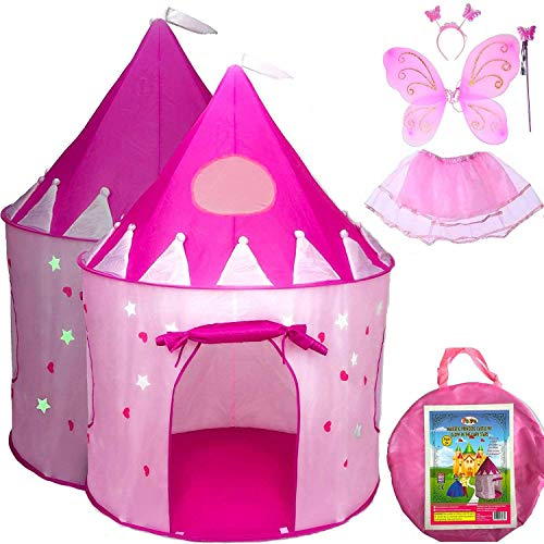 5-Piece Princess Castle Girls Pop Up Play Tent & Dress Up Costume Bundle - Playhouse Gift for Girls & Toddler for Indoor & Outdoor Use with Pink Fairy Tale Carrying Bag & Glow in The Dark Stars