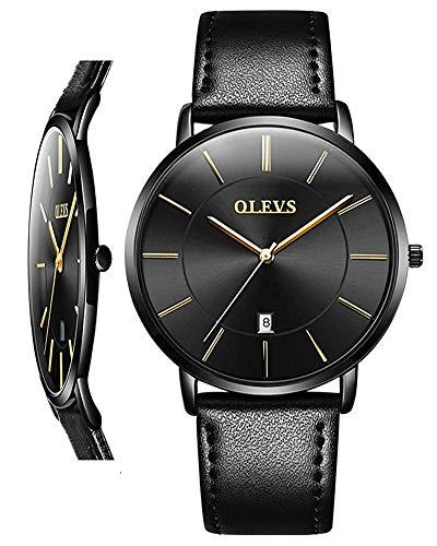 OLEVS Unisex Uhr Analog Quarz mit Leder Armband 5869
