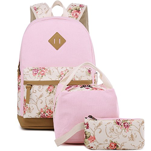 BLUBOON Teens Backpack Set Canvas Girls School Bags Kids Bookbags 3 in 1 (Floral Pink - 3pcs)