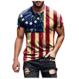 Soldier Short Sleeve for Men American flag T-shirt Retro Patriotic Blouse Muscle Workout Athletics Tee Tops