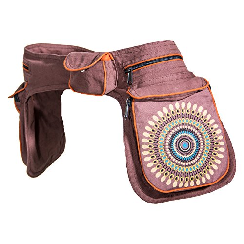 KUNST UND MAGIE Unisex doppel Bauchtasche Sidebag Gürteltasche Festivaltasche, Farbe:Braun