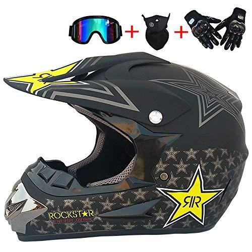 JCLDG Motorrad Helm Motocross Helme City Helme BMX Helme Motorrad Crosshelme (4Stück) Handschuhe Maske Brille - Schwarz/Rockstar - Adult Off Road Fullface MTB Helm Mopedhelm,L