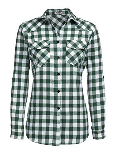 Zeagoo Womens Tartan Plaid Flannel Shirts, Roll up Sleeve Casual Boyfriend Button Down Gingham Checkered Shirt, Grass Green, Small