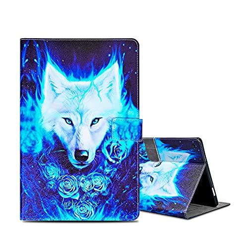 "ONETHEFULCoqueLibroÉtuipourApple iPad 9.7"" 2017 2018 / iPad Air 2013 / iPad Air 2 2014TabletteHousseCoverProtectionÉtuisavecPUCuiretStand-Loup Rose"