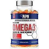 NPN Omega 3 Aceite de pescado de salmón  1000mg | Premium calidad noruega fresca | DHA natural, EPA y DPA | con antioxidantes de astaxantina | 180 cápsulas