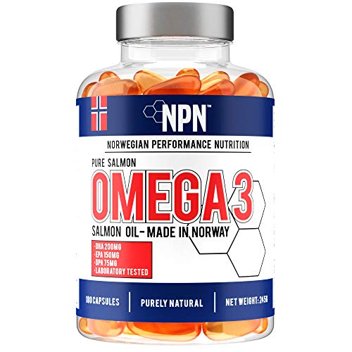 NPN Omega 3 Salmon Fish Oil 1000mg | Premium fresh Norwegian quality | natural DHA, EPA & DPA | with Astaxanthin antioxidants | 180 Capsules