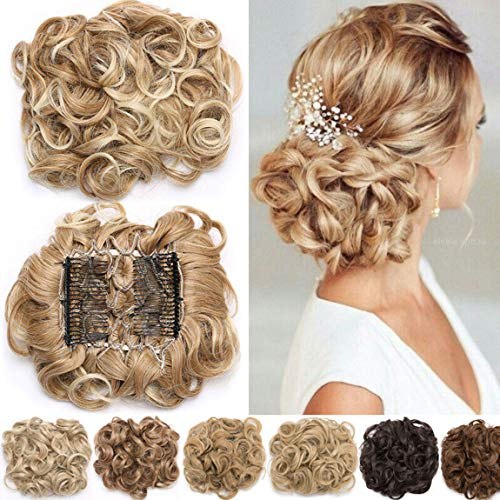 Extensions a clip cheveux naturel postiche cheveux Wrap Scrunchie Scrunchy volumineux Chignon Combs Hair Extensions bouclés Queue de Cheval - Brun moyen