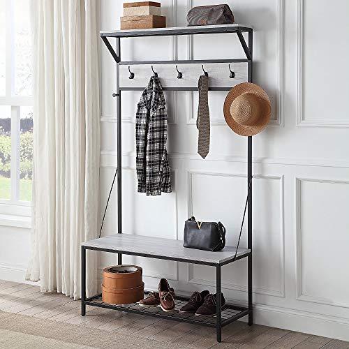 BELLEZE 70 Industrial Bench Hall Tree Entryway Storage Shelf Coat Rack Metal Frame Stone Gray
