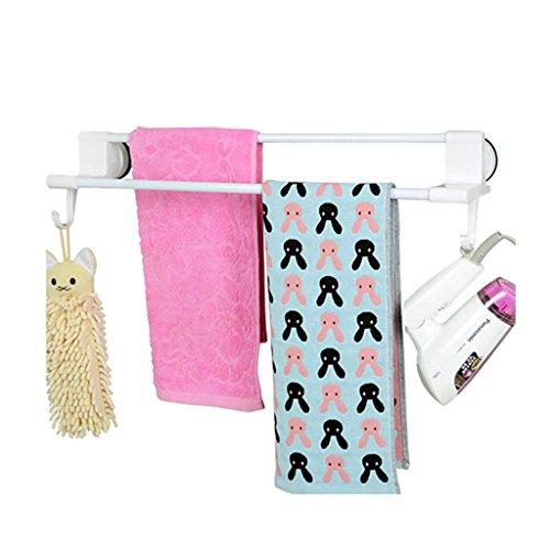 LSLS Gancho de baño de riel de Toalla Doble: Marco de plástico ABS y PVC y toallero de vacío sin Fisuras (sin Herramientas) torreta del Colgador