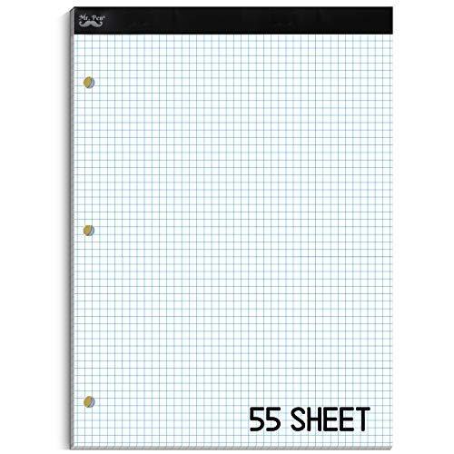 """Mr. Pen- Engineering Paper Pad, Graph Paper, 5x5 (5 Squares per inch), 8.5""""x11"""", 55 Sheets, 3-Hole Punched, Engineering Pad, Grid Paper, Graphing Paper, Computation Pads, Drafting Pad, Blueprint Paper"""