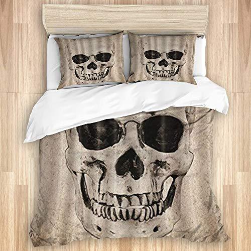 CANCAKA Bedding Juego de Funda de Edredón,Stampa teschio di Halloween,Microfibra Funda de Nórdico y Fundas de Almohada-(Cama 220 x 240cm)