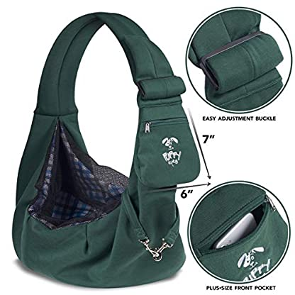 Puppy Eyes Pet Carrier Sling Ideal for Small & Medium Dogs, Cats or Rabbits up to 15 lb. Comfortable & Easy-Care | Free Seat Belt & Ebook | Adjustable & Reversible Design with Zippered Pocket 2