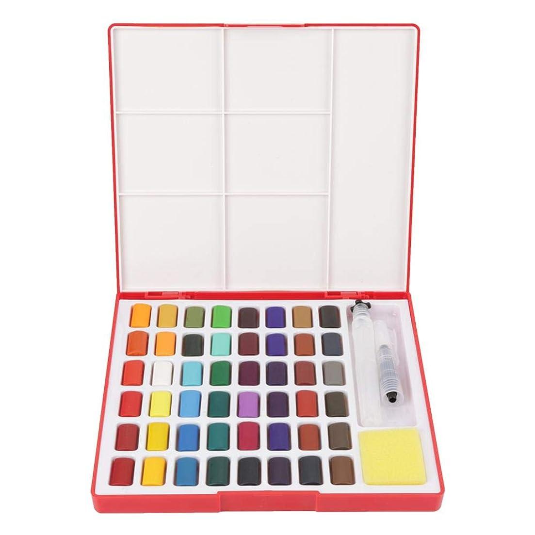だらしない階段ルール水彩絵の具、プラスチックペイントブラシ付き48色ソリッド描画顔料