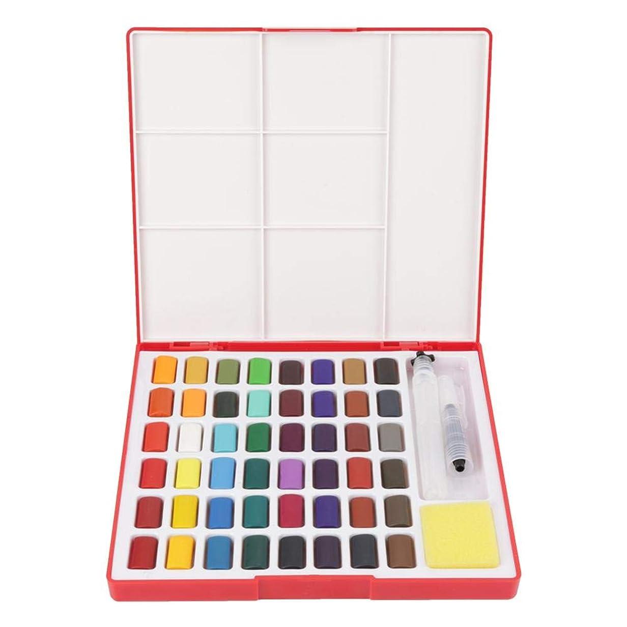 雇ったリーススポンジdooti 固形水彩 48色顔料 絵の具 パレットと水筆付属 水彩絵具 スケッチ 水彩画 美術 画材