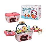 SSZZ Kinderküchen-Spielset Tragbares Picknickkorbspielzeug Mit Musiklichtern Rollenspielzubehör, Rosa