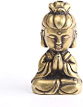 ZGPTX Mini Copper Guanyin Buddha Statue Small Car Ornament Home Decor Accessories Religious Sculptures Living Room Desktop