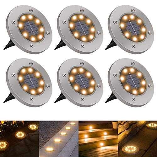 Luci Solari Giardino Golwof 6 Pezzi 8 LED Luce Sepolta Solare IP65 Impermeabile Luci da Terra Solari Faretto Sepolta in Acciaio Inox Faretti Solari da Giardino per Esterno Scala Paesaggio Vialetto