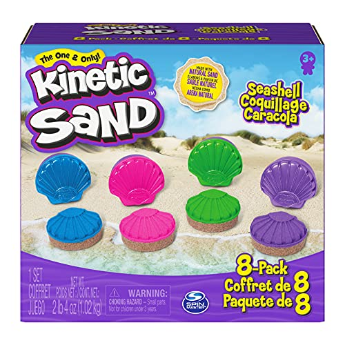 Kinetic Sand, Seashell Containers 8-Pack with 4 Kinetic Sand Neon Colors and Kinetic Beach Sand
