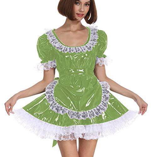 Cosplay Blanco Lace Distribuidor Cosplay Costume Dama Manga Corta Lolita Mini Vestido Precioso Vestido de Lujo de Cosplay con Delantal Traje mucama (Color : Fruit Green, Size : 6XL)