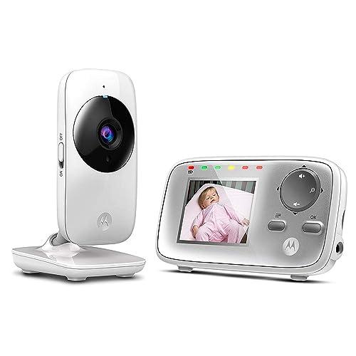 """Motorola MBP 482 - Babyphone vidéo avec écran 2.4"""", éco mode et vision nocturne, couleur blanc"""
