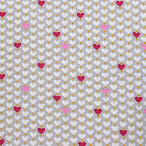 MAGAM-Stoffe Perlen-Herz Herzen Jersey Stoff Oeko-Tex Meterware 50cm