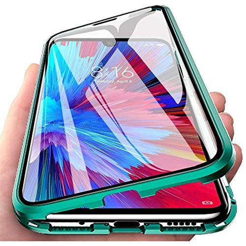 Hülle für Huawei P Smart 2021, Magnetische Adsorption Handyhülle 360 Grad Schutz Aluminiumrahmen mit Gehärtetes Glas, Starke Magneten Stoßfest Metall Flip Hülle Cover - Grün