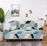 ZZZXX Copridivano con Penisola Elasticizzato Universale Chaise Longue Proteggidivano Angolare Antimacchia Sofa Cover in Poliestere A Forma di L, Federe Protettive per Divano 1 Posti - Plaid Blu