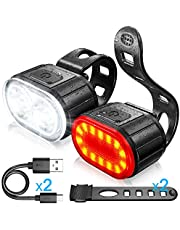自転車ライトキット、LED自転車フロントおよびリアライト、USB充電式自転車ライト、男の子と女の子に利用可能、防水マウンテンバイクライトの組み合わせ