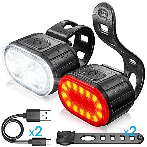 Luces Bicicleta Kit, Luz Delantera y Luz Trasera de LED Bicicleta, Luz Bicicleta Recargable USB, Disponible para Hombres y Mujeres Niños, Combinación de Luces de Bicicleta de Montaña a Prueba de Agua