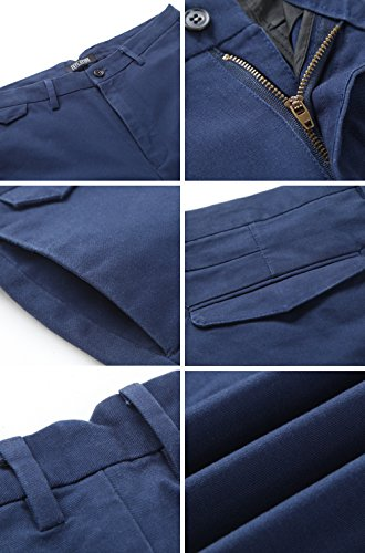 INFLATION Men's Flat Front Slim Tapered Stretch Casual Pants 100% Cotton Dress Pants Trousers for Men,22 Color Choices Navy Blue
