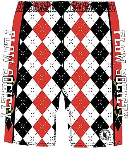 Flow Society White, Black & Red Argyle Boys Athletic Shorts