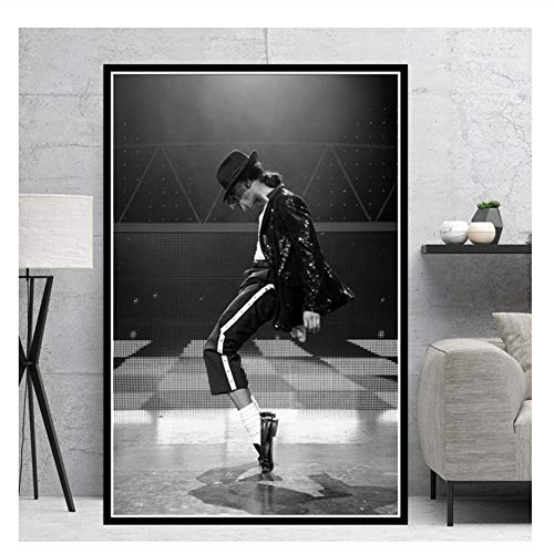 Suuyar Michael Jackson Rock Pop Music Legend Star Poster Oil Painting Prints Canvas Wall Art Pictures for Living Room Home Decor-20X30 Inch No Frame