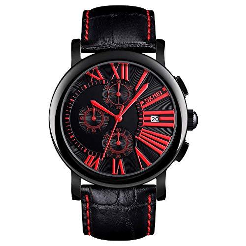 AZPINGPAN Reloj para Hombre, Calendario de Moda, cronógrafo multifunción, Reloj de Pulsera de Cuarzo Resistente al Agua para Deportes y Ocio, Relojes de Cuero de aleación de Zinc Minimalistas