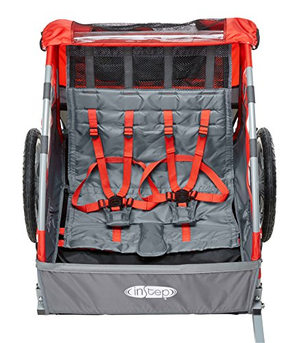 Instep Bike Trailer for Kids, Single and Double Seat, Double Seat, Red