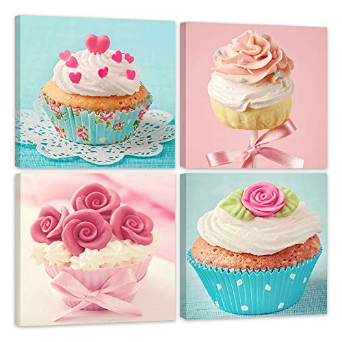 ShuaXin Modern Home Decor Kitchen Wall Art Delicious Cup Cake Paintings on Canvas Home Decor Wall Decals 1212 X4pcs Framed with Box
