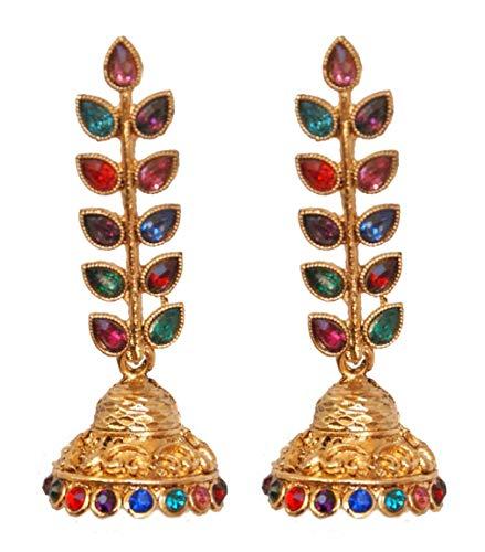 Pahal - Pendientes largos de oro con diseño de hojas de Kundan multicolor