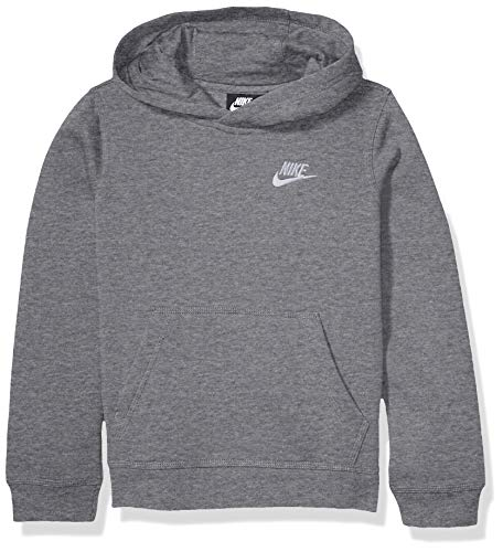 Nike Boy's NSW Pull Over Hoodie Club, Carbon Heather/White, Large