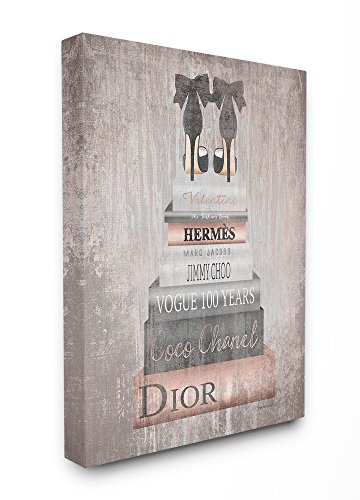 The Stupell Home Decor Collection Book Stack Heels Metallic Pink Stretched Canvas Wall Art, Multicolor