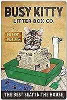 レトロおかしい金属錫サイン8 x 12インチ(20 * 30 cm)アメリカの食料品面白い子猫 ブリキ看板警告通知パブクラブカフェホームレストラン壁の装飾アートサインポスター