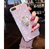 KC Glitter Dream Shell Pearl Stand Ring Holder Soft Silicon Semi Transparent Back Cover for Apple iPhone 8 Plus (Pink Gold)