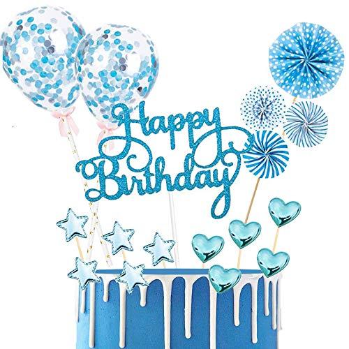 BOYATONG Tortendeko Geburtstag, Happy Birthday Kuchendeko, Glitter Cake Topper Happy Birthday, Tortendeko Blau, Cupcake Topper mit Sternen Liebe Konfetti-Luftballons und Papierfächer