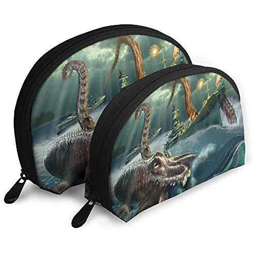 Duschvorhang Schiff Wellen Octopus Tragbare Taschen Make-up Kulturbeutel Multifunktions Tragbare Reisetaschen Kleine Make-up Clutch Pouch